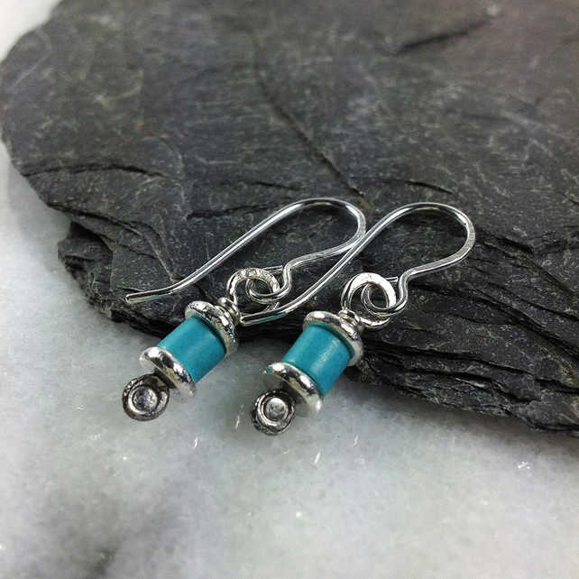 Reels  -Turquoise and silver  earrings
