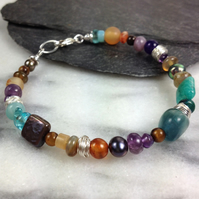 Gemstone silver and pearl bracelet