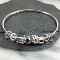 Silver amethyst and 18ct gold bangle