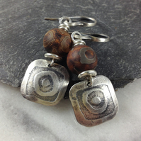 Etched silver and agate earrings