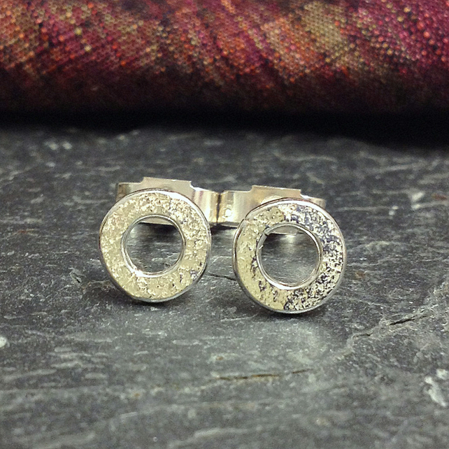 Silver stud earrings tiny circles
