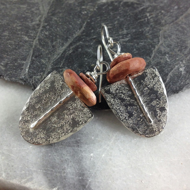 silver and bauxite Tribe earrings