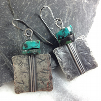 Silver and turquoise Core earrings