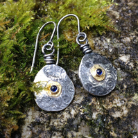Silver, gold and sapphire Relic earrings