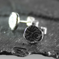 Small sterling silver irregular patterned stud earrings