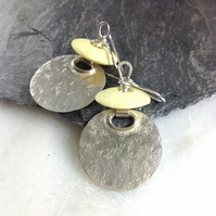 Large silver disc earrings with African glass