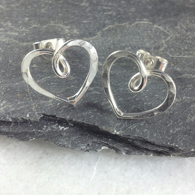 Silver heart stud earrings , infinity hearts