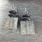 Oxidised silver and onyx earrings