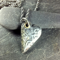 Heart necklace silver and 18ct gold