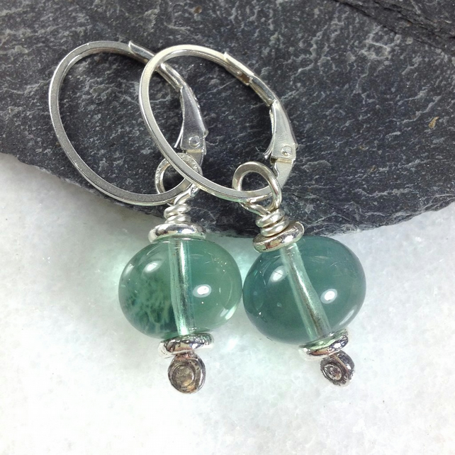 Teal fluorite and silver earrings