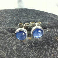 blue kyanite stud earrings sterling silver , gemstone studs