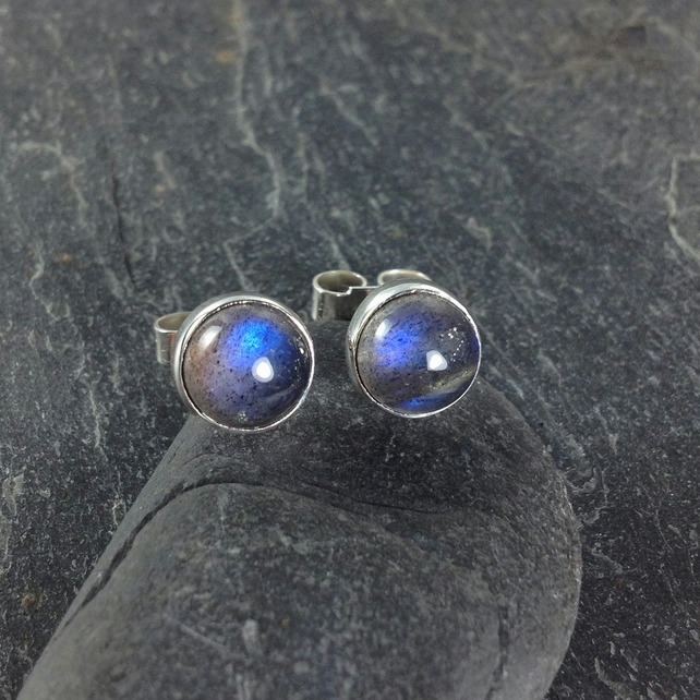 Labradorite stud earrings sterling silver , gemstone studs