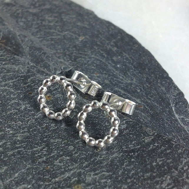 Small sterling silver beaded ring stud earrings