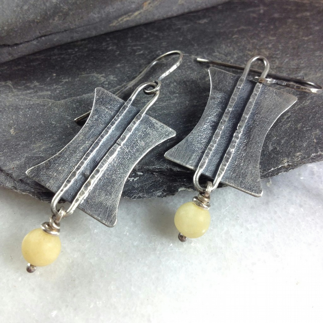 Silver Tribal earrings with cream stones