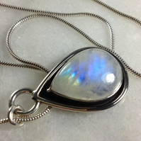 Moonstone and silver pendant with chain