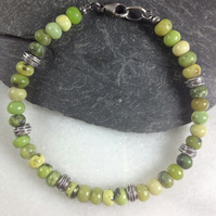 Chrysoprase and silver bracelet