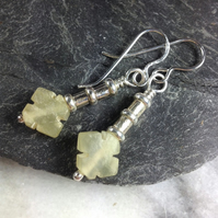 Silver and green serpentine earrings