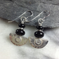 Silver and onyx earrings Ulu