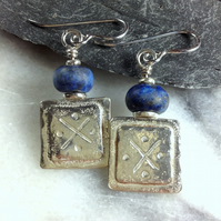 Silver and lapis lazuli Oware earrings