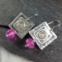 Silver and hot pink chalcedony spiral earrings