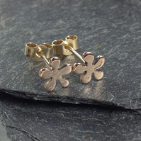 Tiny 9ct rose gold flower stud earrings