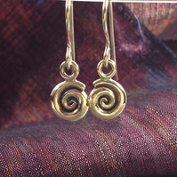 9ct gold spiral earrings, ammonite dangles