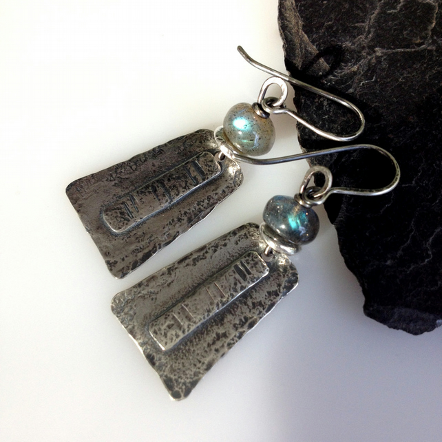 Sterling silver and labradorite dangly earrings