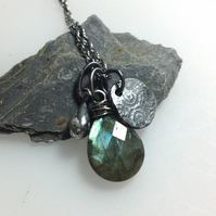 Labradorite and silver  Relic charm necklace