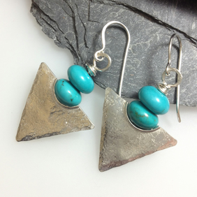 Turquoise and silver tribal earrings