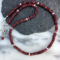 Raw ruby and sterling silver necklace