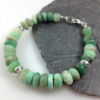 Silver and chunky chrysoprase bracelet
