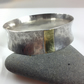 Sterling silver and 18ct gold wide anticlastic bangle cuff