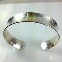 Silver and 18ct gold anticlastic cuff bangle