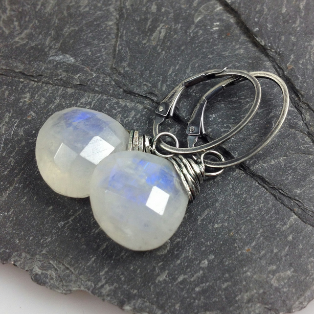 Moonstone silver wrapped earrings