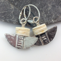 Silver and African shell earrings