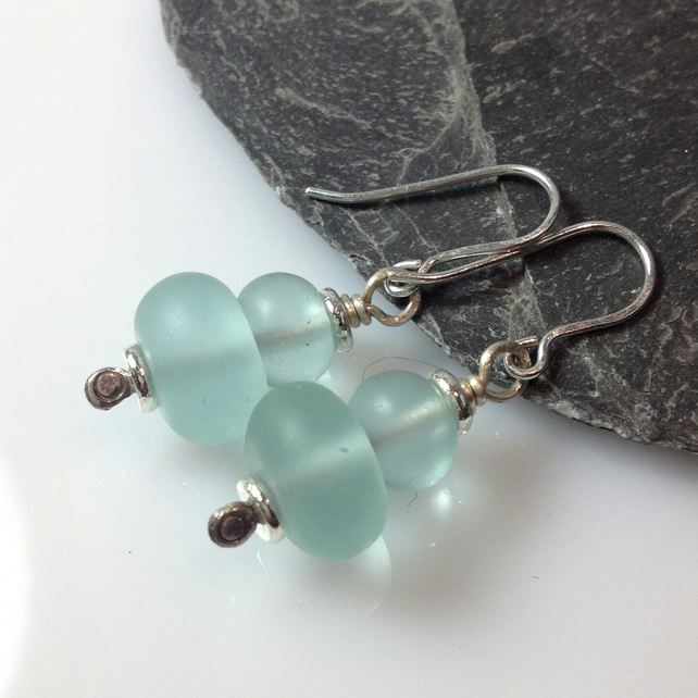 sterling silver and aqua sea glass earrings