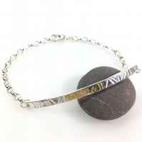 Sterling silver and 18ct gold  bar bracelet, id style