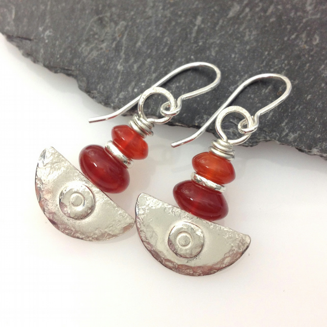 Ulu, handmade silver and carnelian earrings