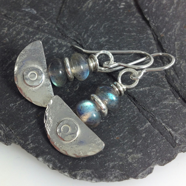 Ulu, handmade silver and labradorite earrings
