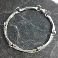 Sterling silver forged link bracelet
