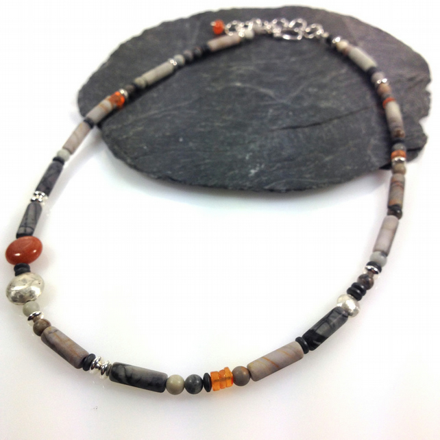 Silver, jasper and carnelian necklace