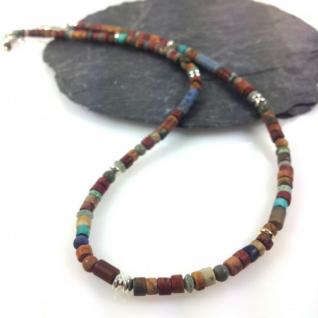 Jasper silver and 18ct gold necklace