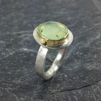 Silver 18ct gold and prehnite ring