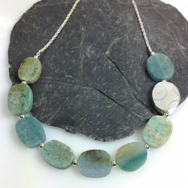 sterling silver and blue green quartz necklace