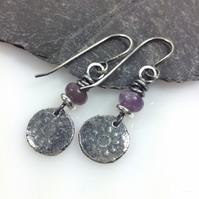 Silver lepidolite Relic earrings