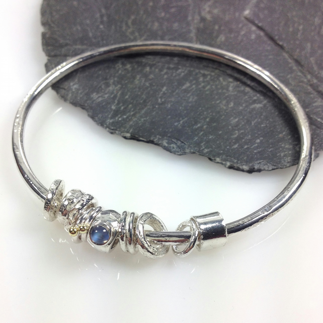 Silver blue moonstone and gold bangle  No Worries Bangle