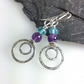 Silver amethyst and apatite Peacock earrings