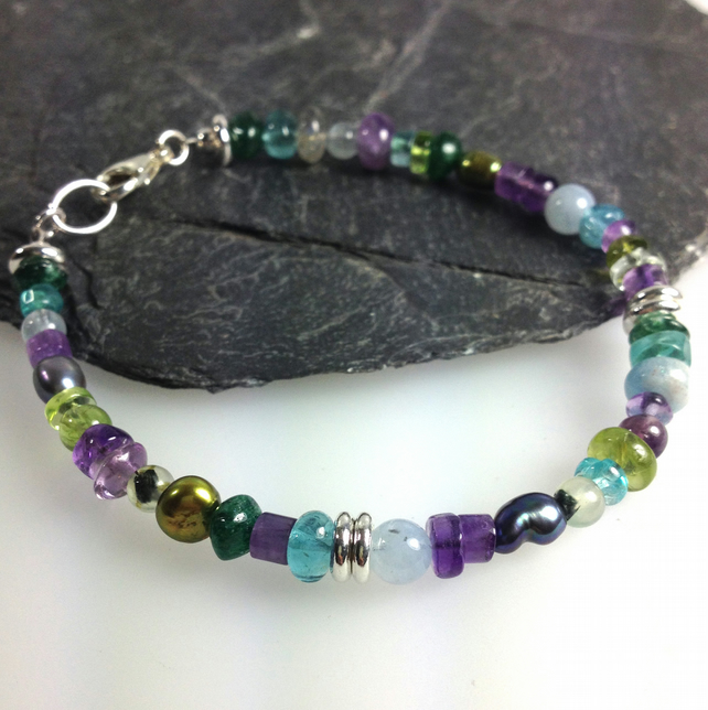 Silver and gemstone Peacock bracelet