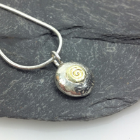 Silver and 18ct gold spiral pebble pendant and chain