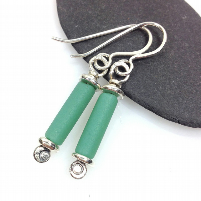 Scrolls silver and blue green matte glass earrings